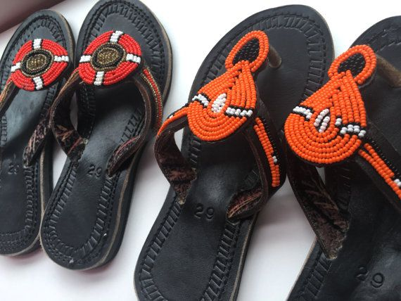 ba279a8836570 Kids Leather Maasai Sandals    Vibrantly Beaded by ArtOfEthelTawe ...