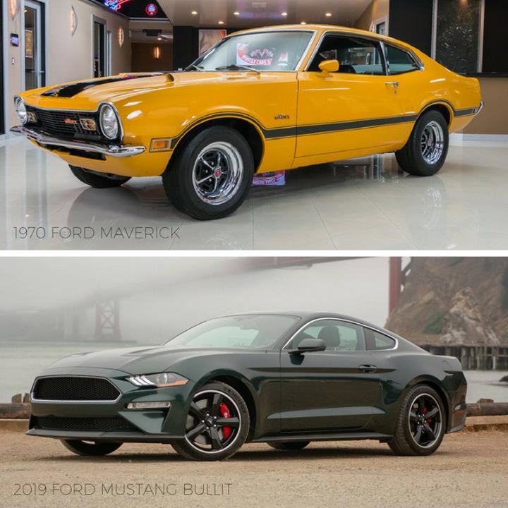 Tbt 1970 Ford Maverick Vs 2019 Ford Mustang Bullit Ford Maverick Ford Mustang 2019 Ford