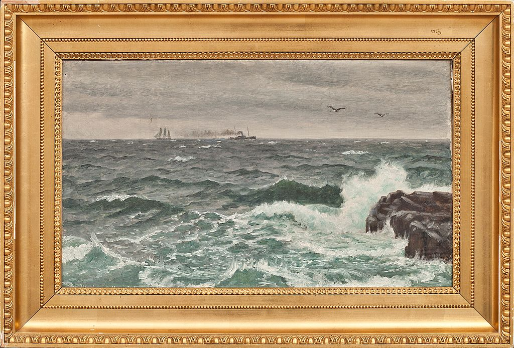 Maleri af Chr. Blache - Skib ved Kullen, Skåne olie på lærred - Signeret og dateret 1907.