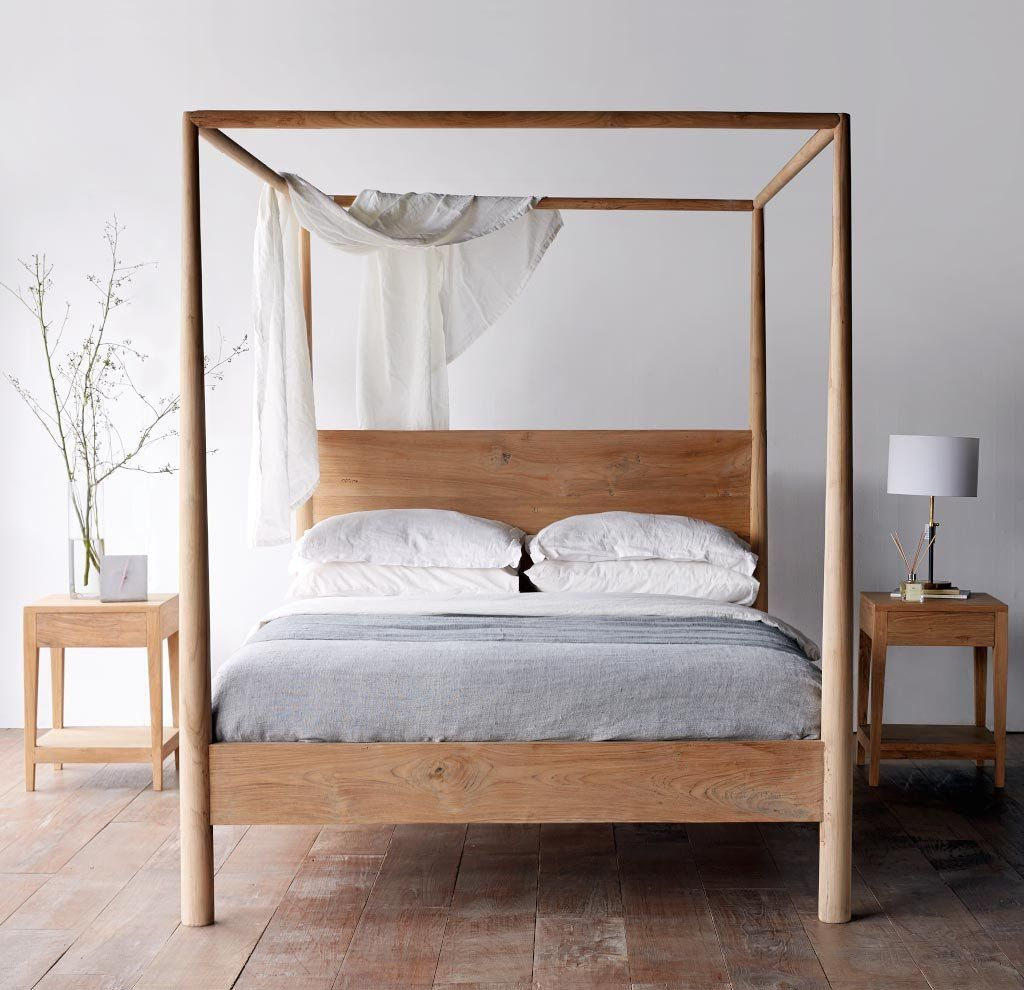 Nomad Java Himalaya Teak Four Poster Bed Queen Size Ww