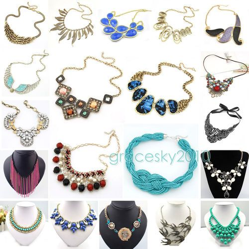 Hot Selling Mixed Style New Fashion Bib Statement Necklace 20 Style U pick BJS19