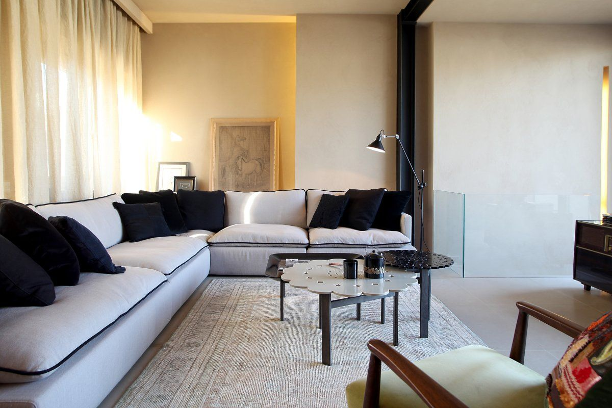 Contemporist acropolis view house athens greece by minas kosmidis modern grey black edged sectional sofa oushak rug