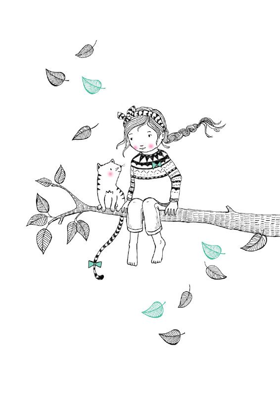 Ansichtkaart Tree girl. Illustratie: Marieke ten Berge. Decoratie kinderkamer babykamer zwart-wit monochrome en pastel.