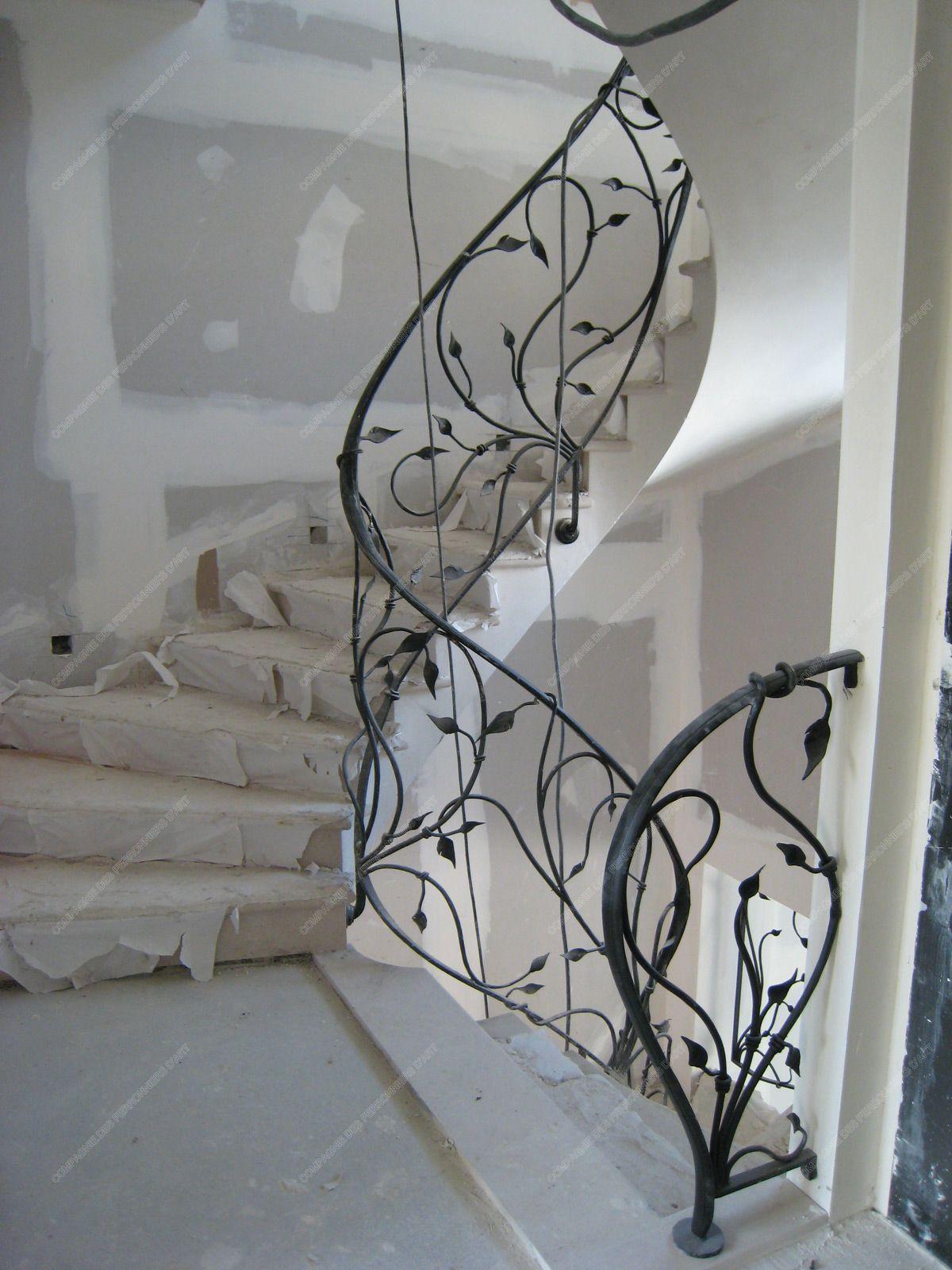Rampe D Escalier Murale Bois rampes d'escalier en fer forgé floral et végétal : modèle