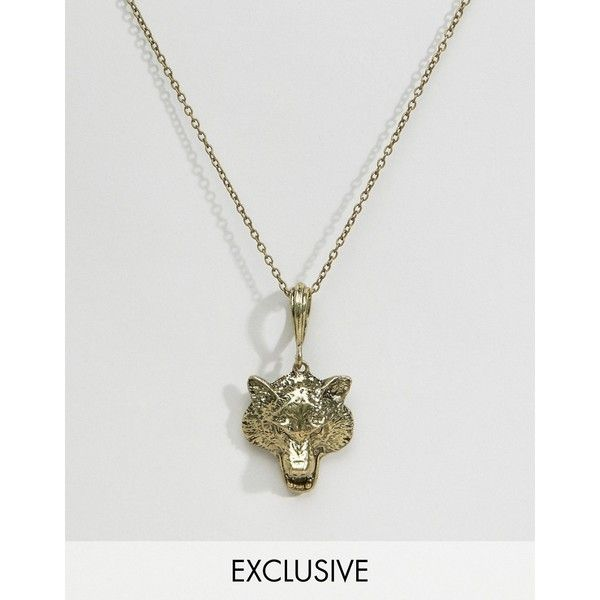 Reclaimed vintage wolf head pendant necklace in gold 18 liked reclaimed vintage wolf head pendant necklace in gold 18 liked on polyvore featuring aloadofball Gallery