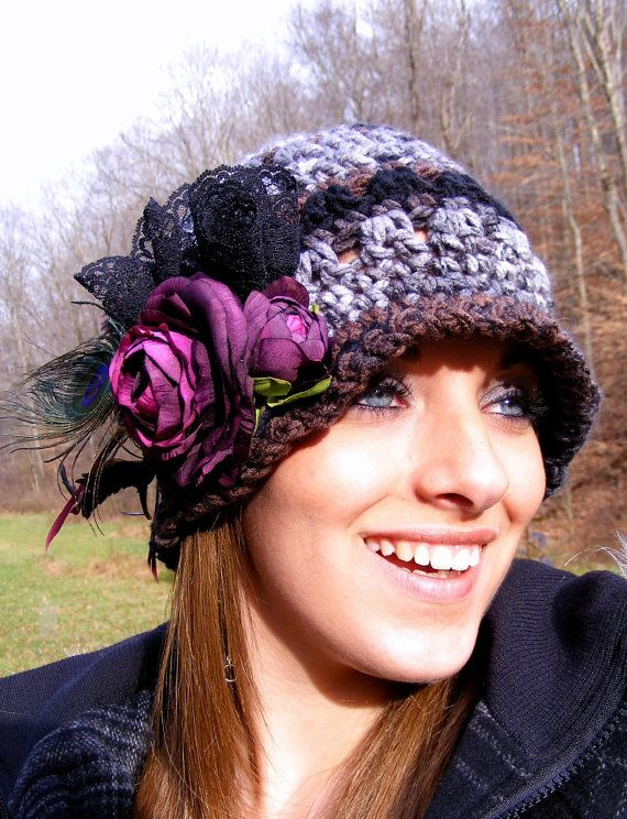 Crochet Hat Pattern Womans Hat Valentines Instruction of Flowers ...