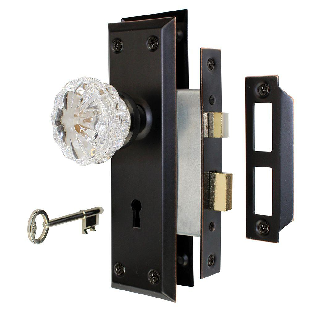 Defender Security Passage Door Latch Glass Knob Set with Latch Bolt