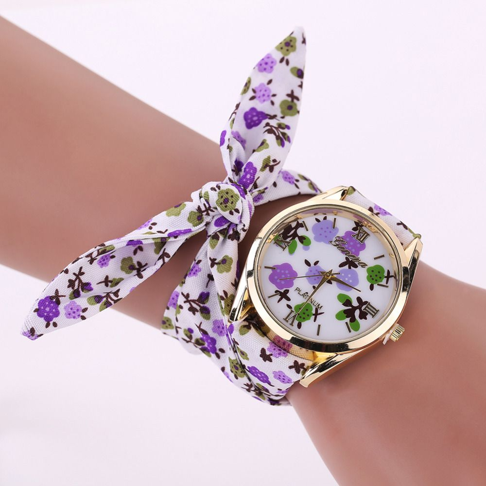 lq com leather women s dp analog casio womens watches white amazon cloth floral watch fabric