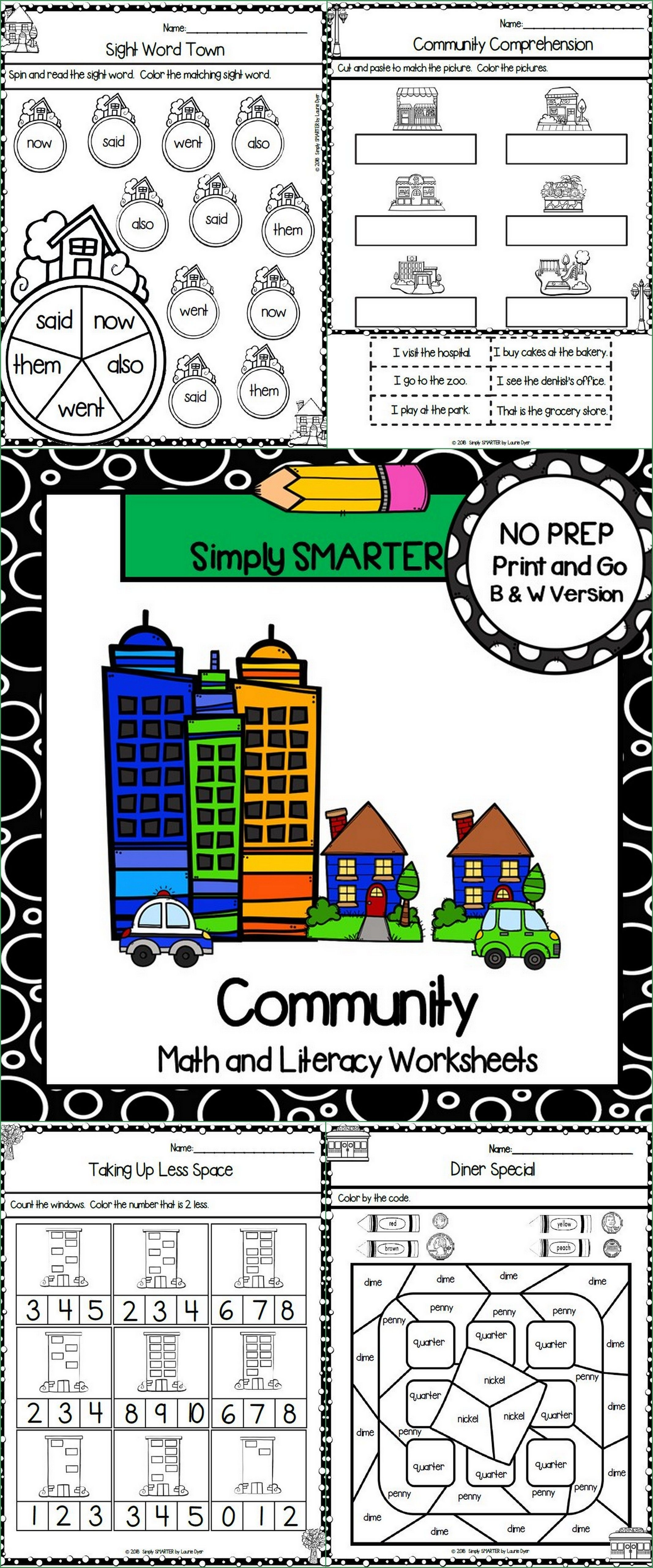 Community Themed Kindergarten Math And Literacy Worksheets