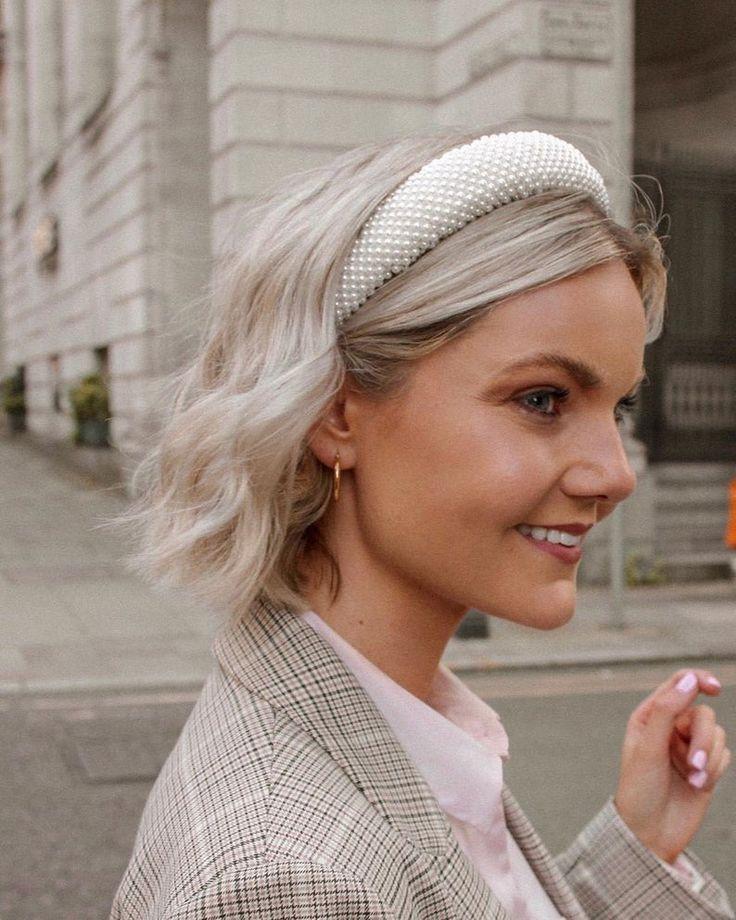 White Pearl Headband Plush Vintage Hair Band Pearls Head   Etsy