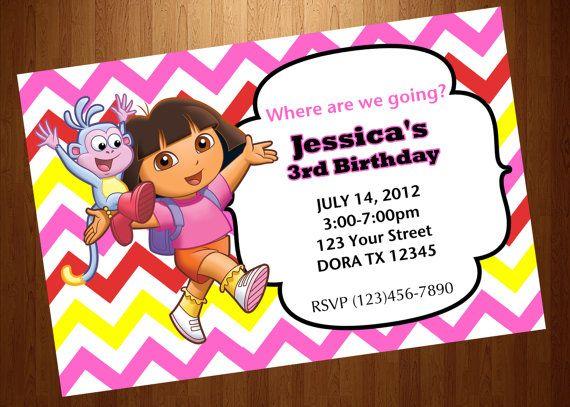 Dora the explorer invitation cards custom invites party printable dora the explorer invitation birthday party by jaypeacreations 1200 filmwisefo Choice Image