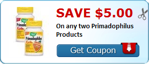 New Coupon!  Save $5.00 On any two Primadophilus Products - http://www.stacyssavings.com/new-coupon-save-5-00-on-any-two-primadophilus-products/