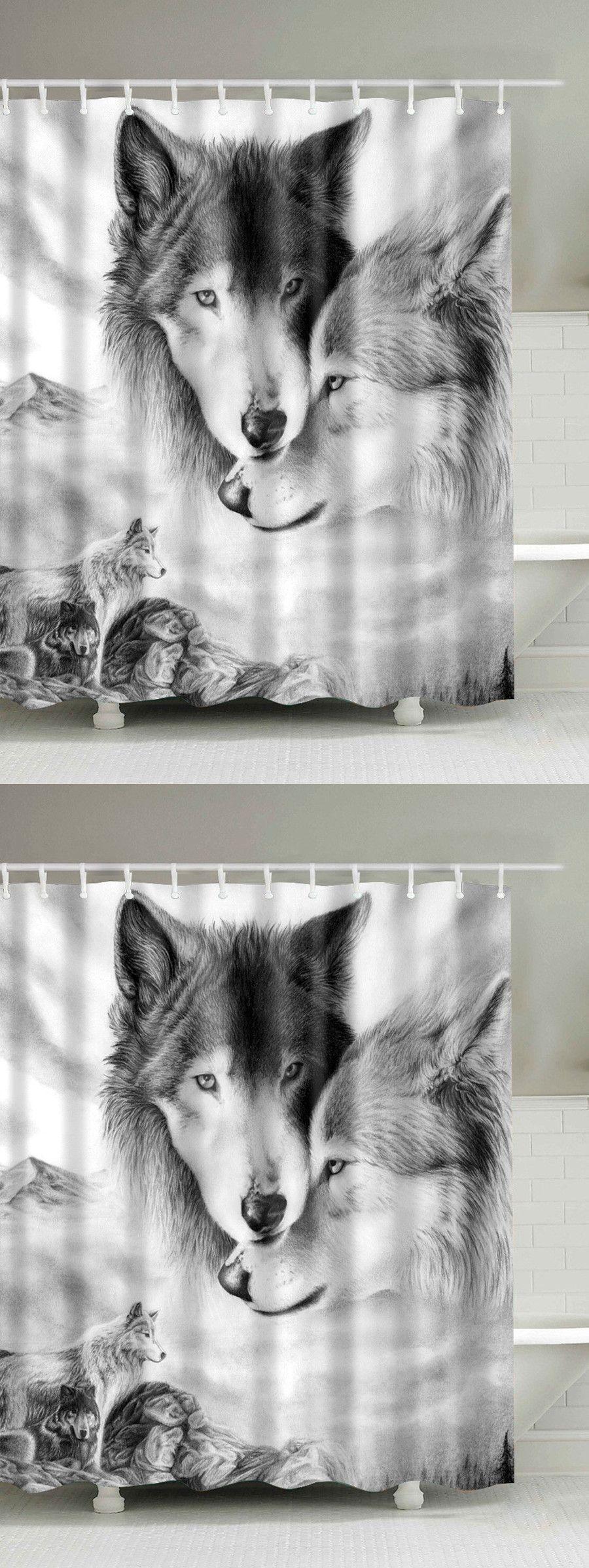 Zimmer im westlichen stil  wolf d digital printed shower curtain  western style