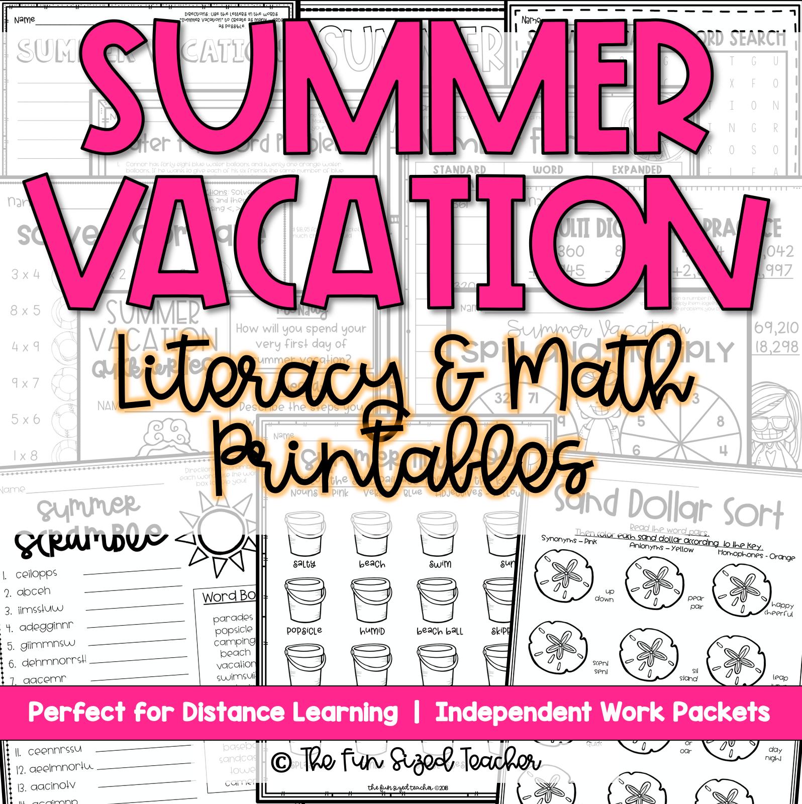Summer Vacation Ela Amp Math Printables