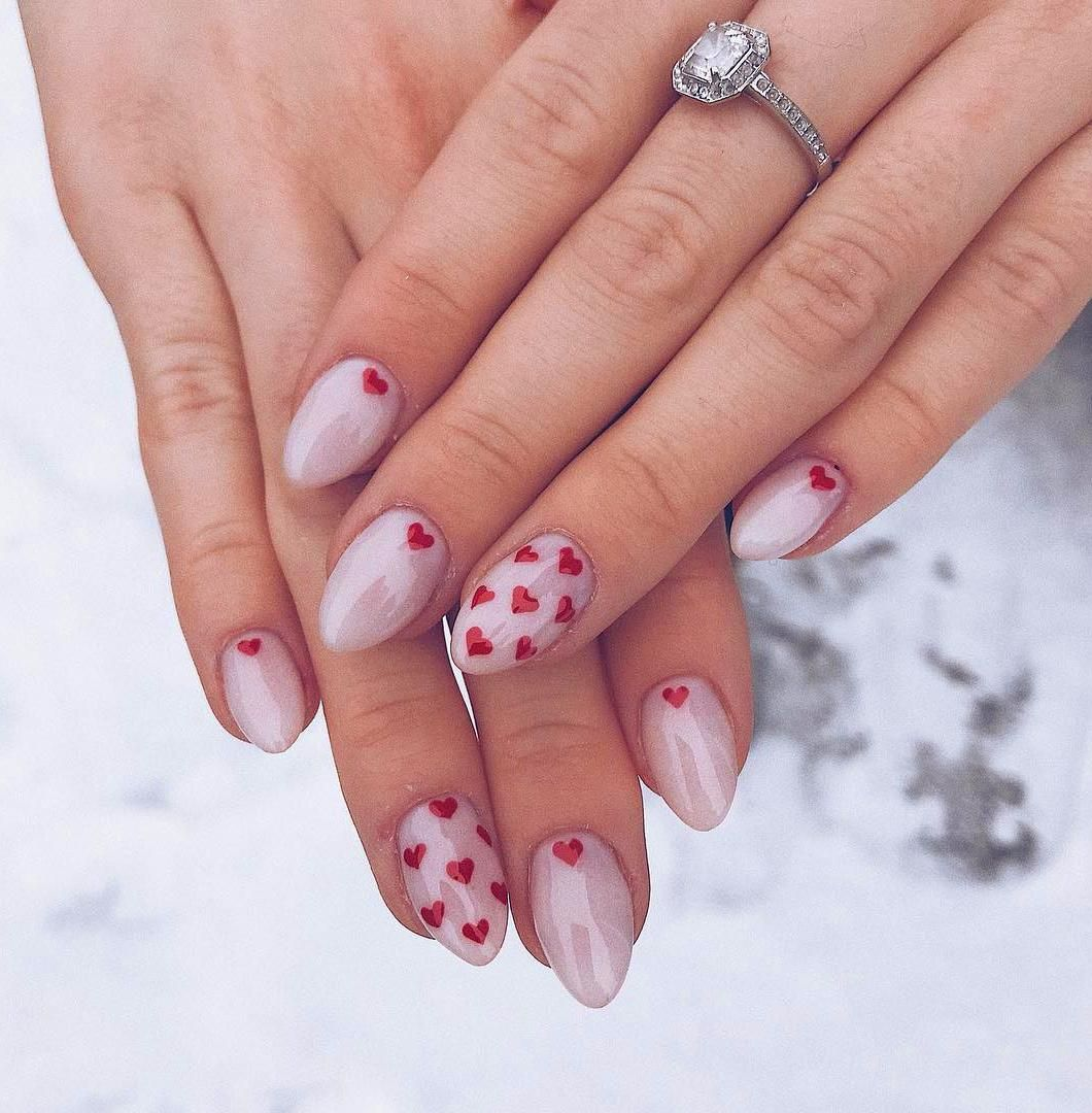40 Heart Valentine S Day Shape Nails Art Designs Tips Heart Nail Designs Manicure Nail Designs Heart Nails