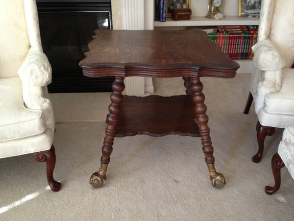 Antique Oak Parlor Table With Huge Glass Ball Claw Feet With Faces Parlor Table Glass Ball Clawfoot
