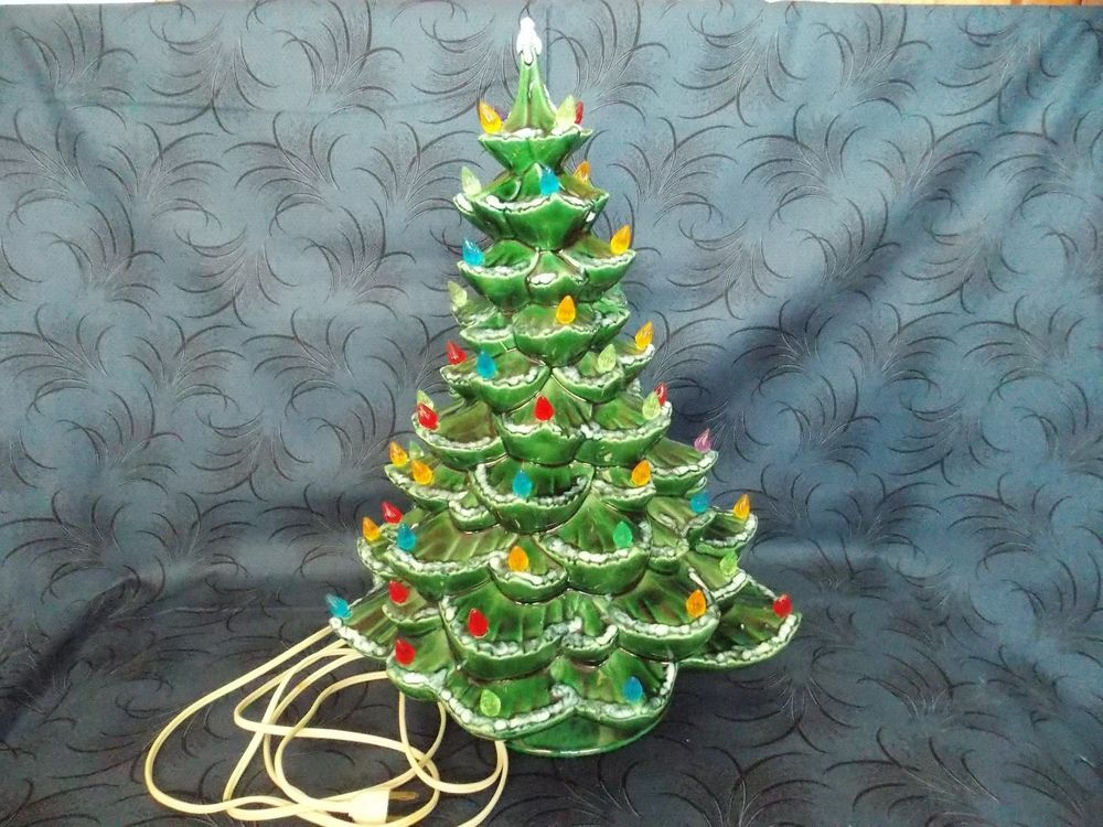Vintage 17 Inch Tall Lighted Green Ceramic Christmas Tree With Base