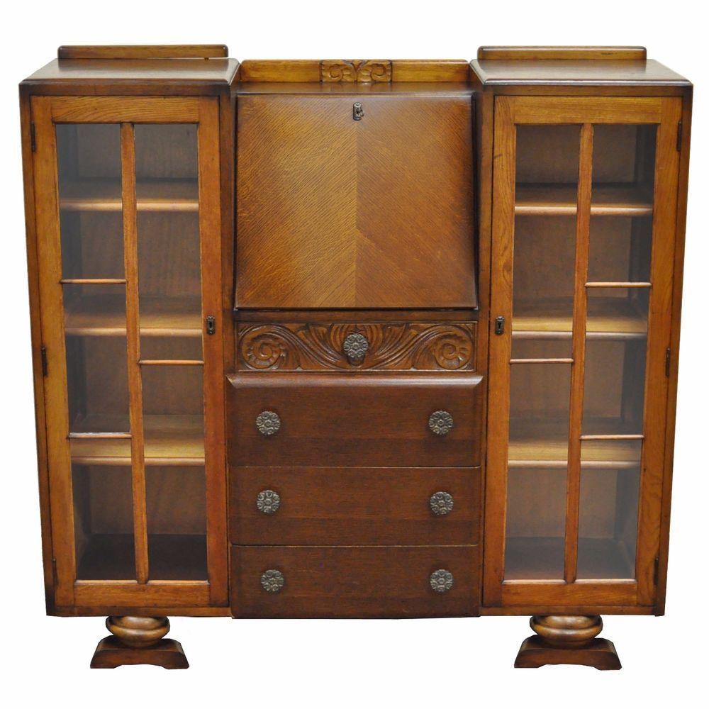 Superieur Antique Scully Carved Oak English Jacobean Bookcase Fall Front Secretary  Desku2026