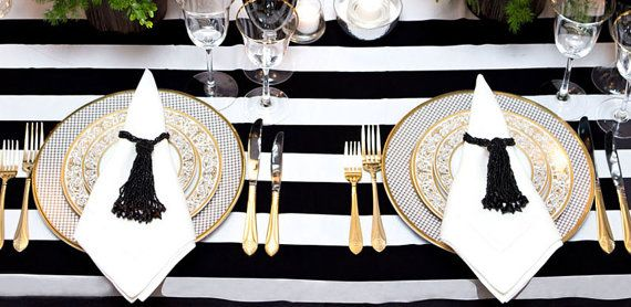 Black And White Stripe Tablecloth By TableArtistLinens On Etsy, $60.00