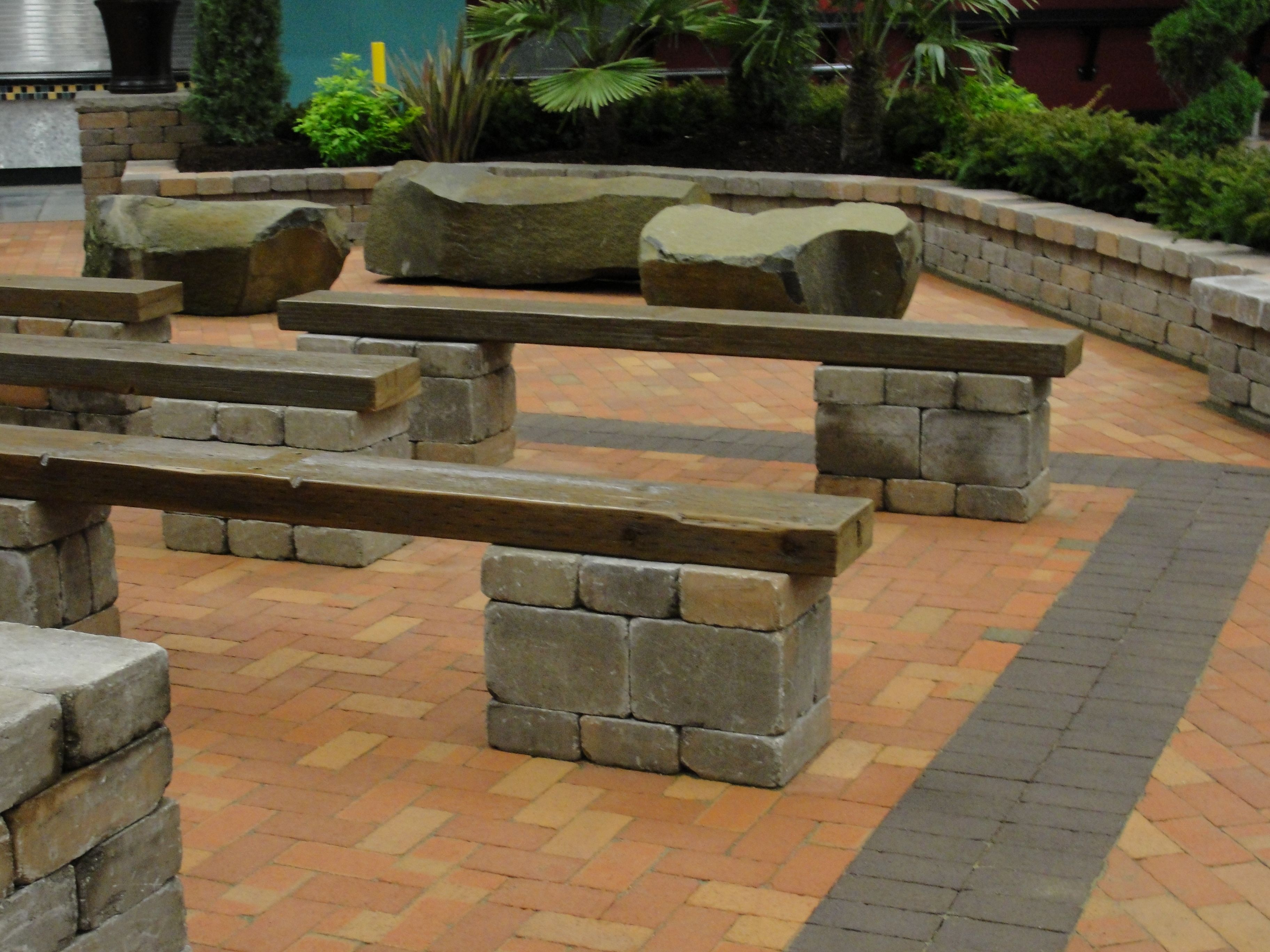Great Bench Idea W Tuscan Stone And Reclaimed Wood