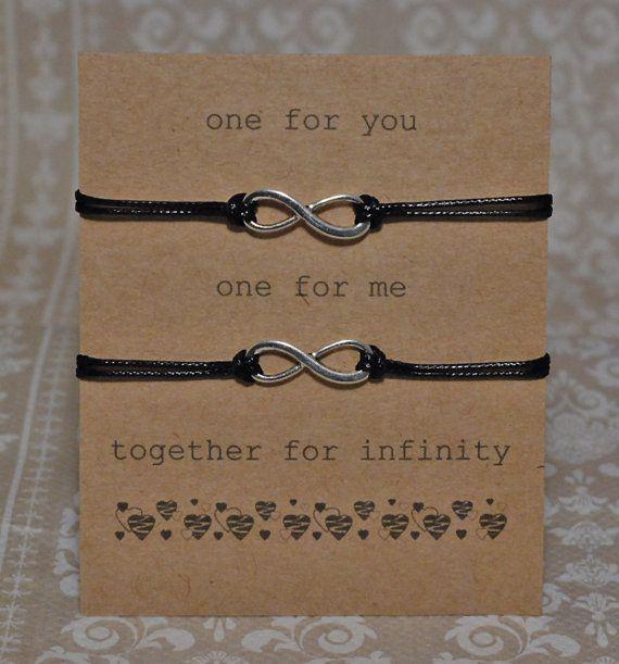 Infinity Bracelet Set on Sentiment Card Black by JellieGJewellery, £3.99