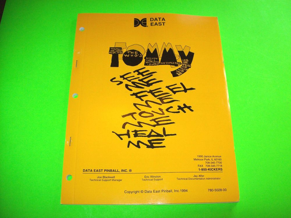 Data East TOMMY 1994 Original NOS Pinball Machine Service Manual