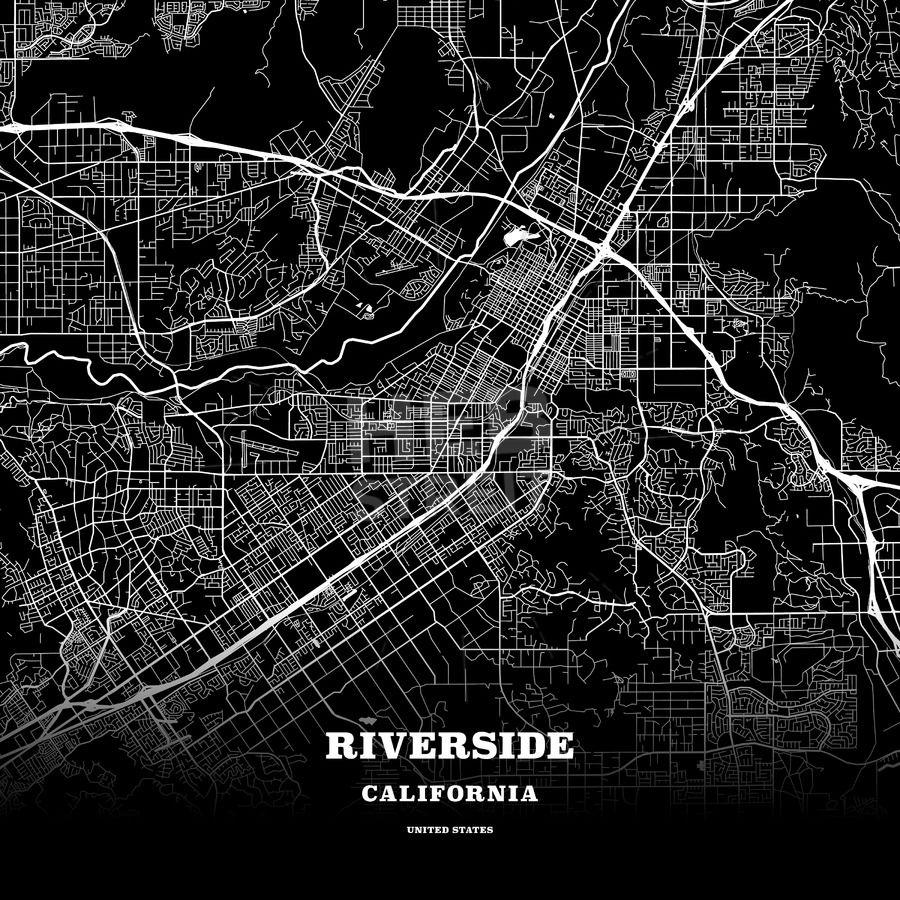Black map poster template of Riverside, California, USA | Maps ...