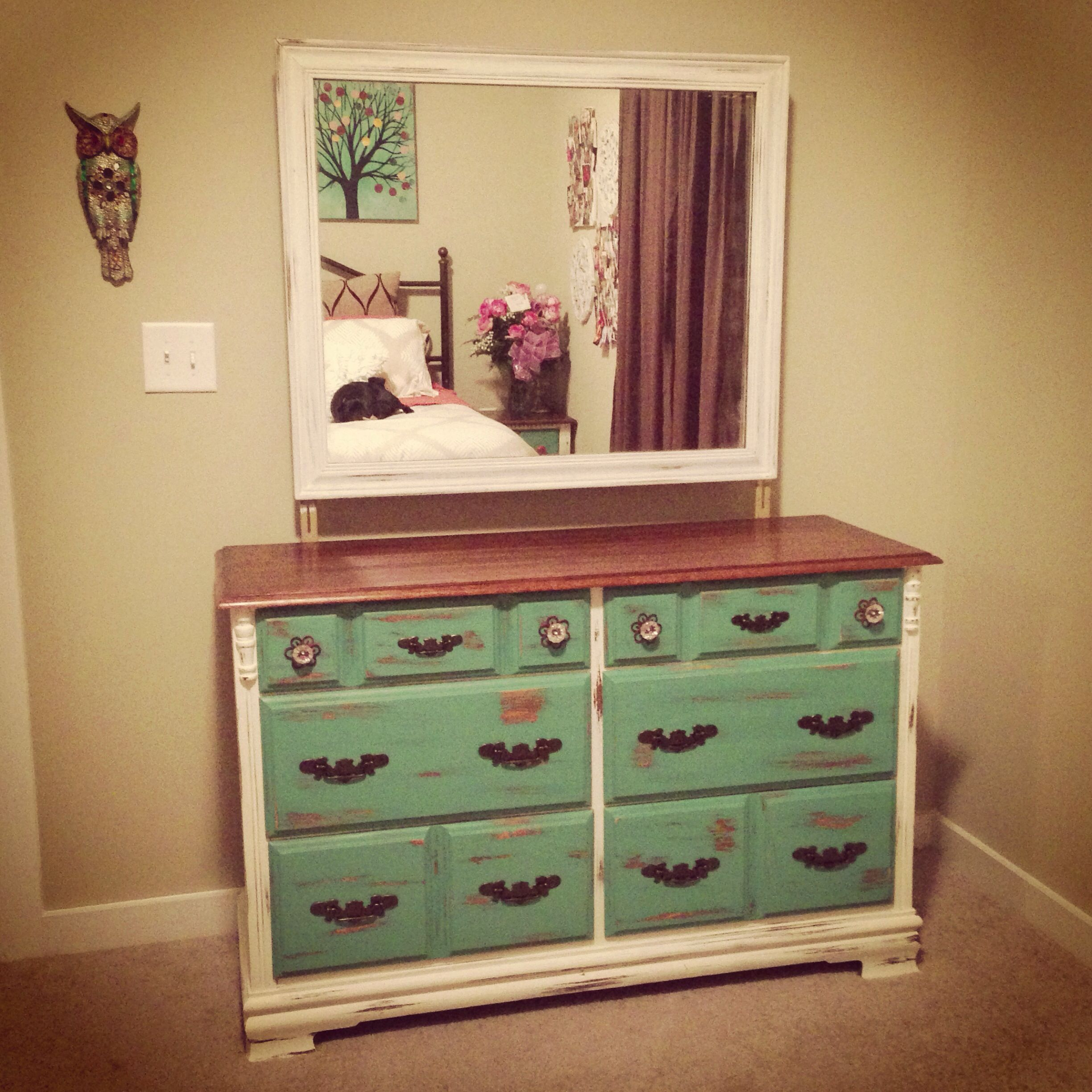 white brown turquoise wooden dresser mirror diy chalkpaint