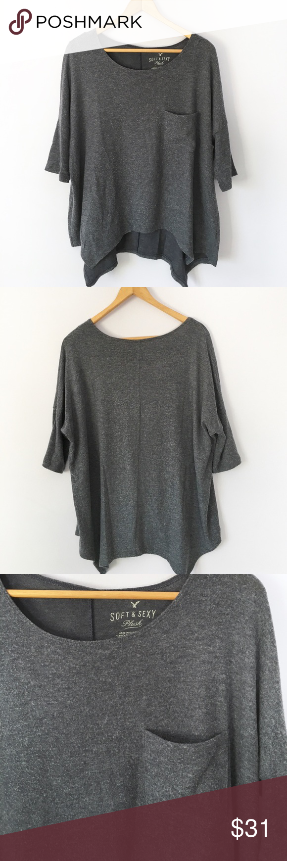 ✨sale!✨AE soft and sexy blue-gray plush boxy tee AE soft and sexy plush boxy tee in gorgeous blue-gray. So soft and cozy! 3/4 sleeves, flowy flattering fit. Worn and washed a few times, has light fuzzing all over since it's plush material  • plush • sweater • pocket tee • American Eagle Outfitters Tops