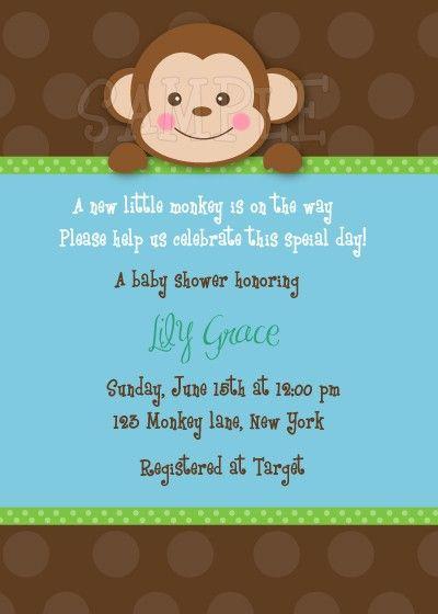 Monkey Baby Shower Invitations 10 00 Via Etsy