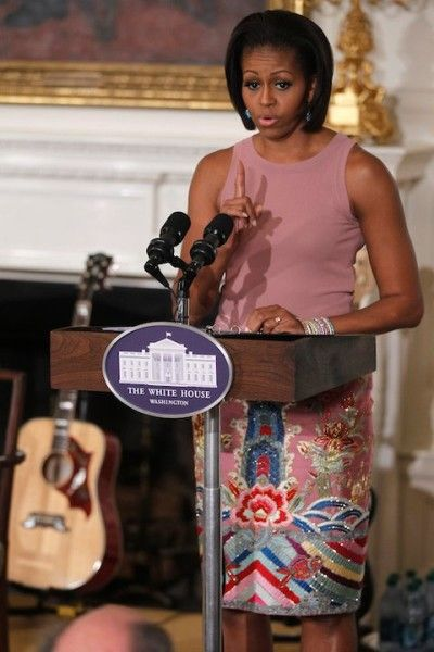 Michelle Obama in pink beaded skirt