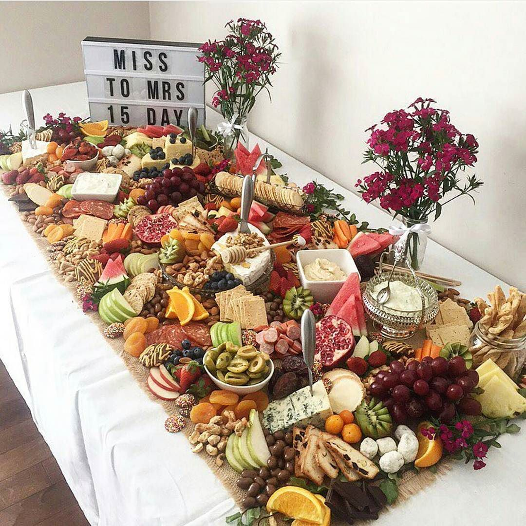 Wedding Reception Food Table Ideas: Table Size Fruit + Cheese Buffet Grazing Table Ideas And