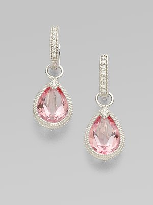 Jude Frances Diamond Pink Topaz 18k White Gold Earring Charms
