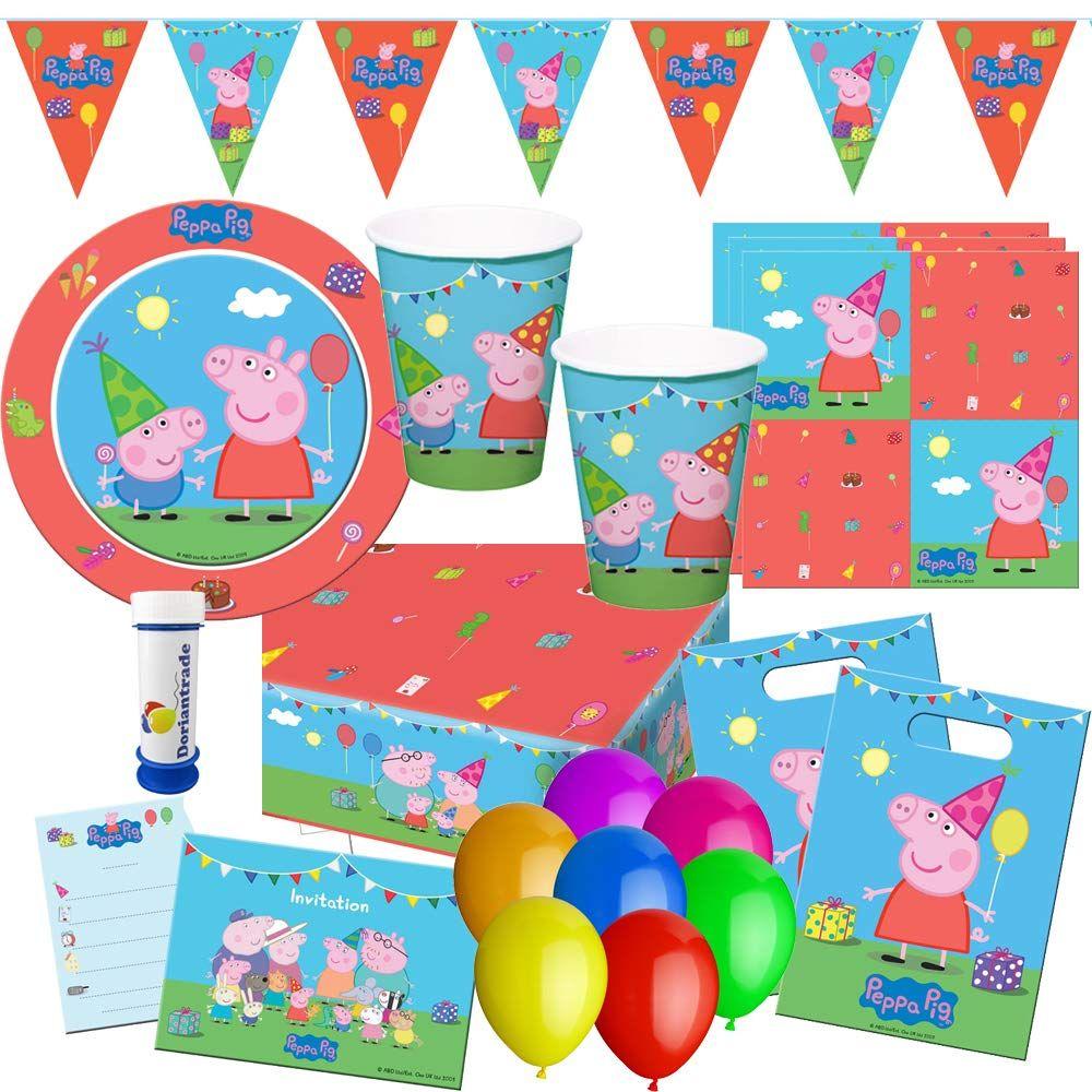 PEPPA WUTZ PIG Party Set Teller Becher Servietten Tischdecke Kinder Geburtstag