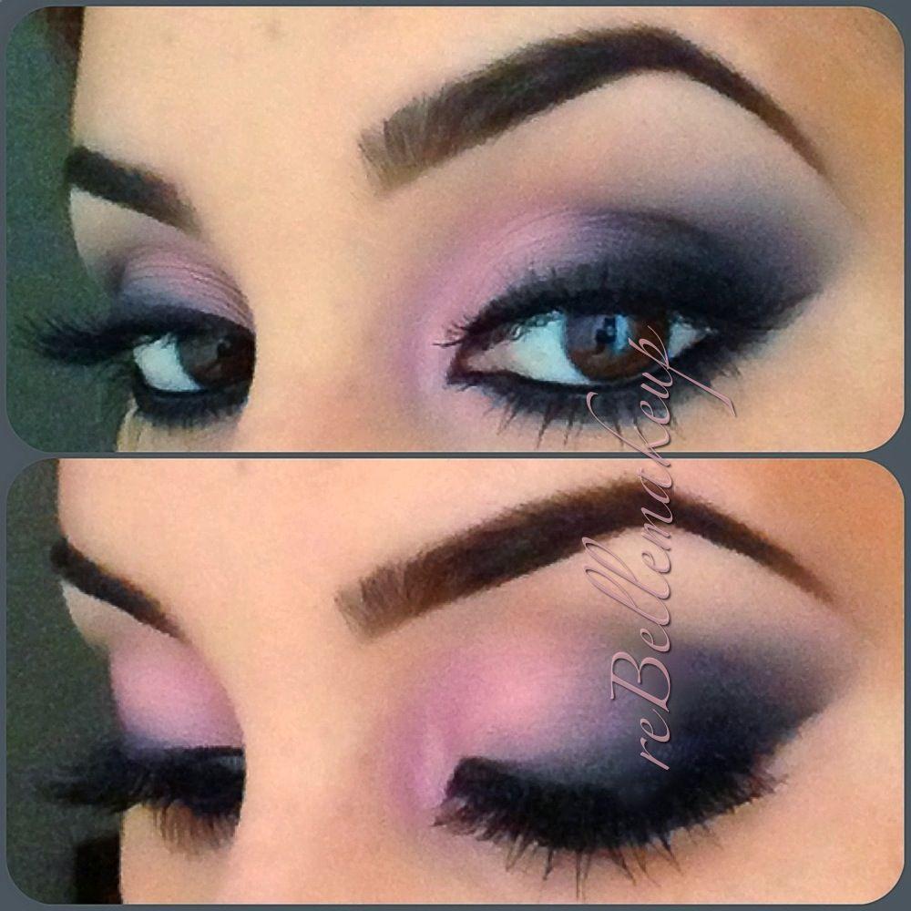 Valentine's Day inspired pink gray black smoky eye makeup
