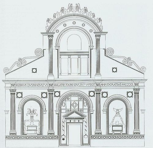 Alberti. Facade of the Tempio Malatestiano According to