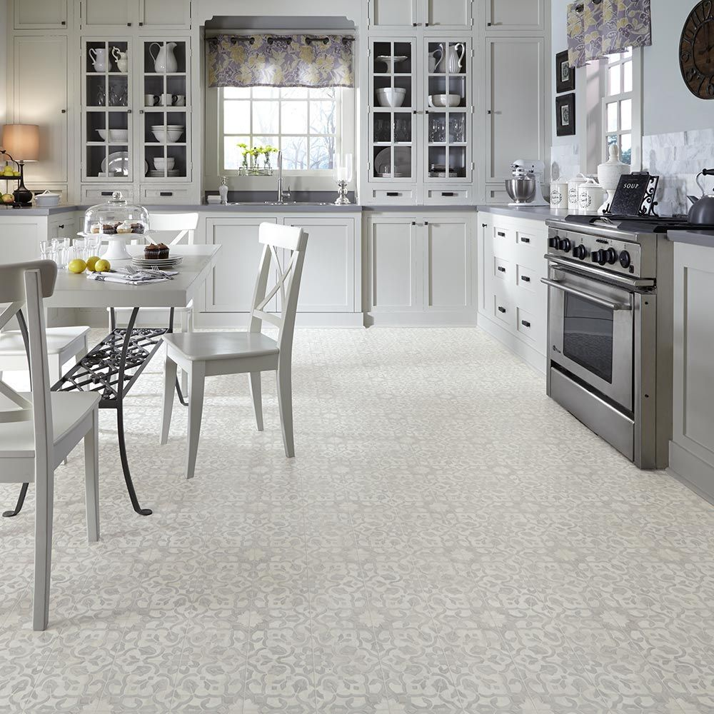 Old Kitchen Tile: Vintage Ornate Design Inspiration Resilient Vinyl Floor