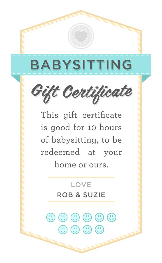 Babysitting Gift Certificate Download Fully Customizable