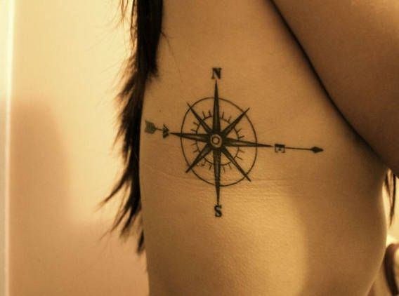 Compass Pointing East Tattoo feminine compass tatto...