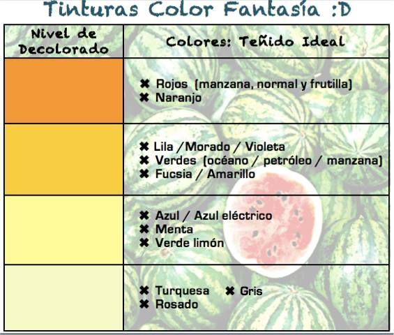 Nivel De Decoloracion Para Tintes Fantasia Decoloración De Cabello Tintes Fantasia Colorimetria Cabello