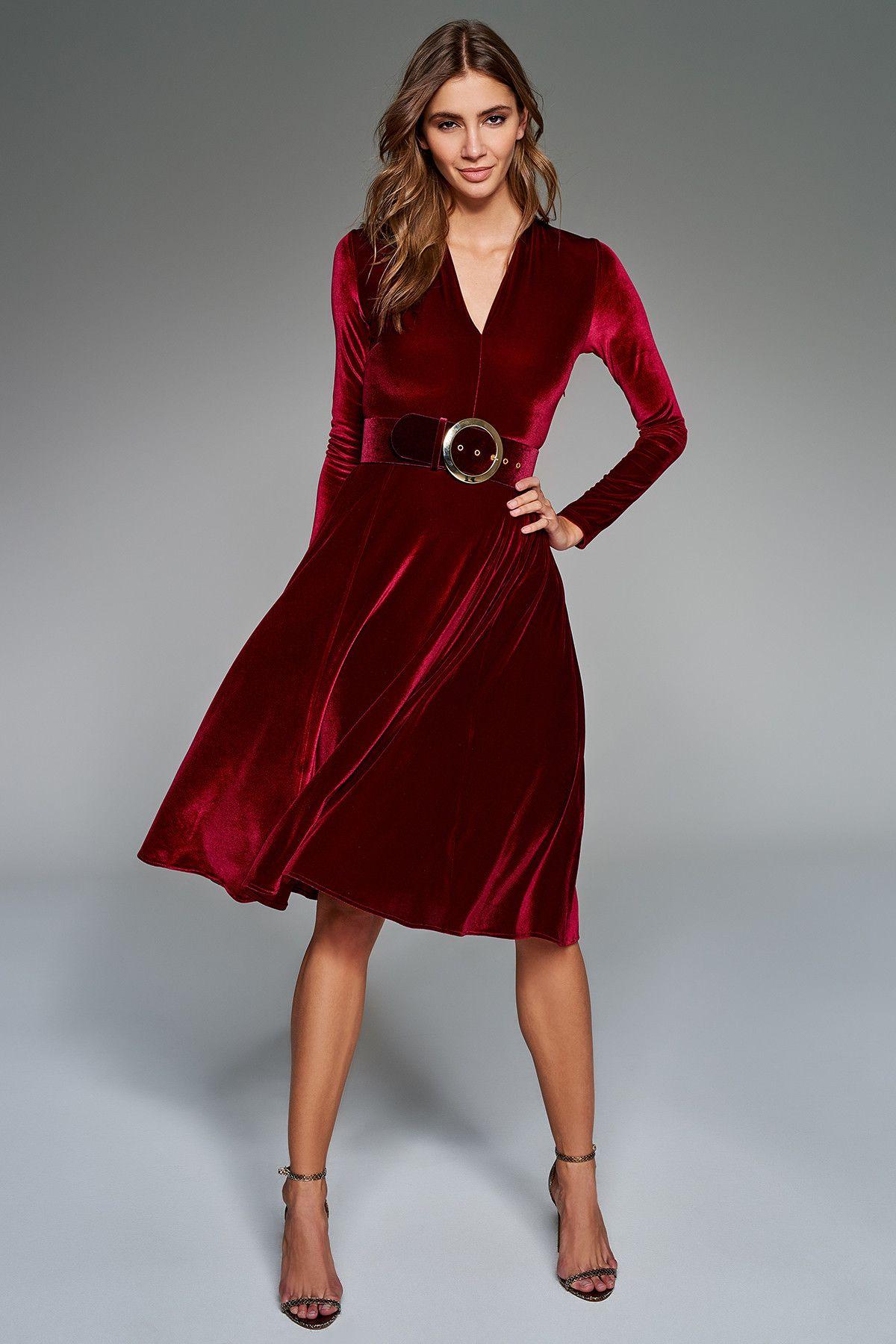 Trendyolmilla Trendyolmilla Bordo Kadife Elbise Elbise Elbise Modelleri Kiyafet