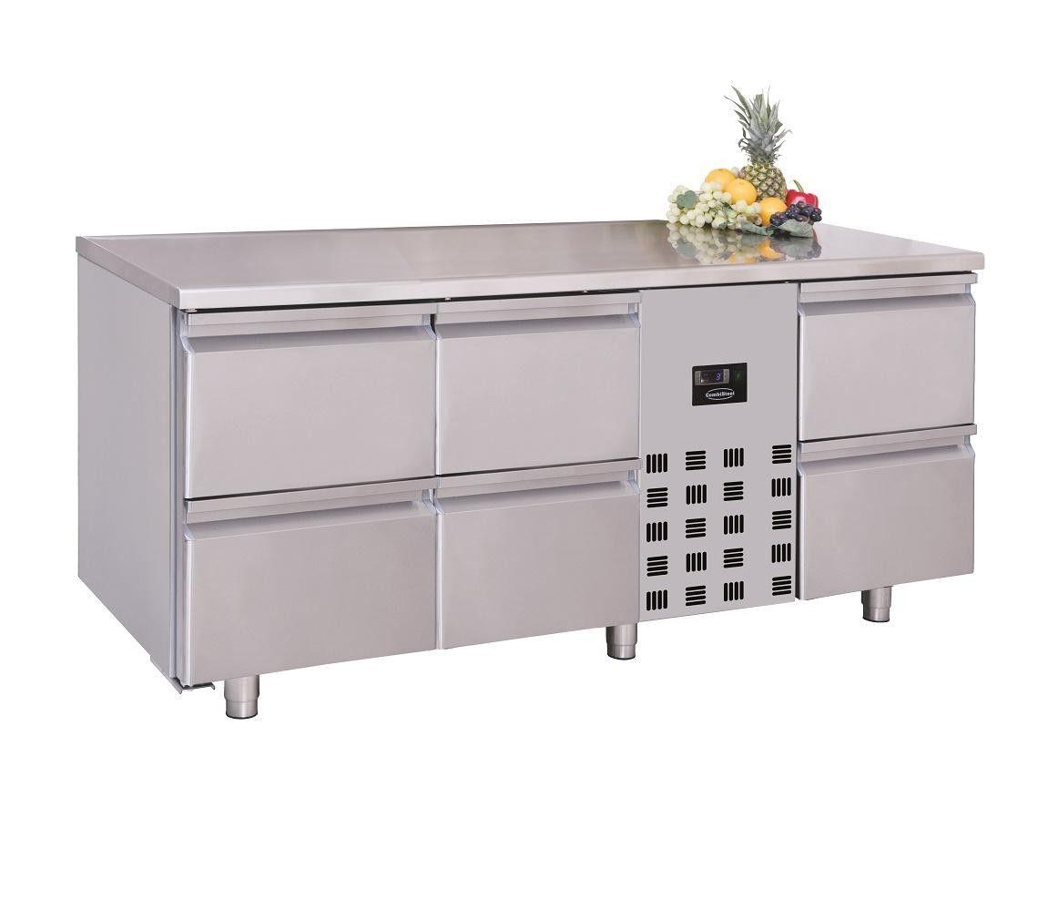 Kühltisch 6 Schubladen Monoblock, TxBxH 700x1785x850mm