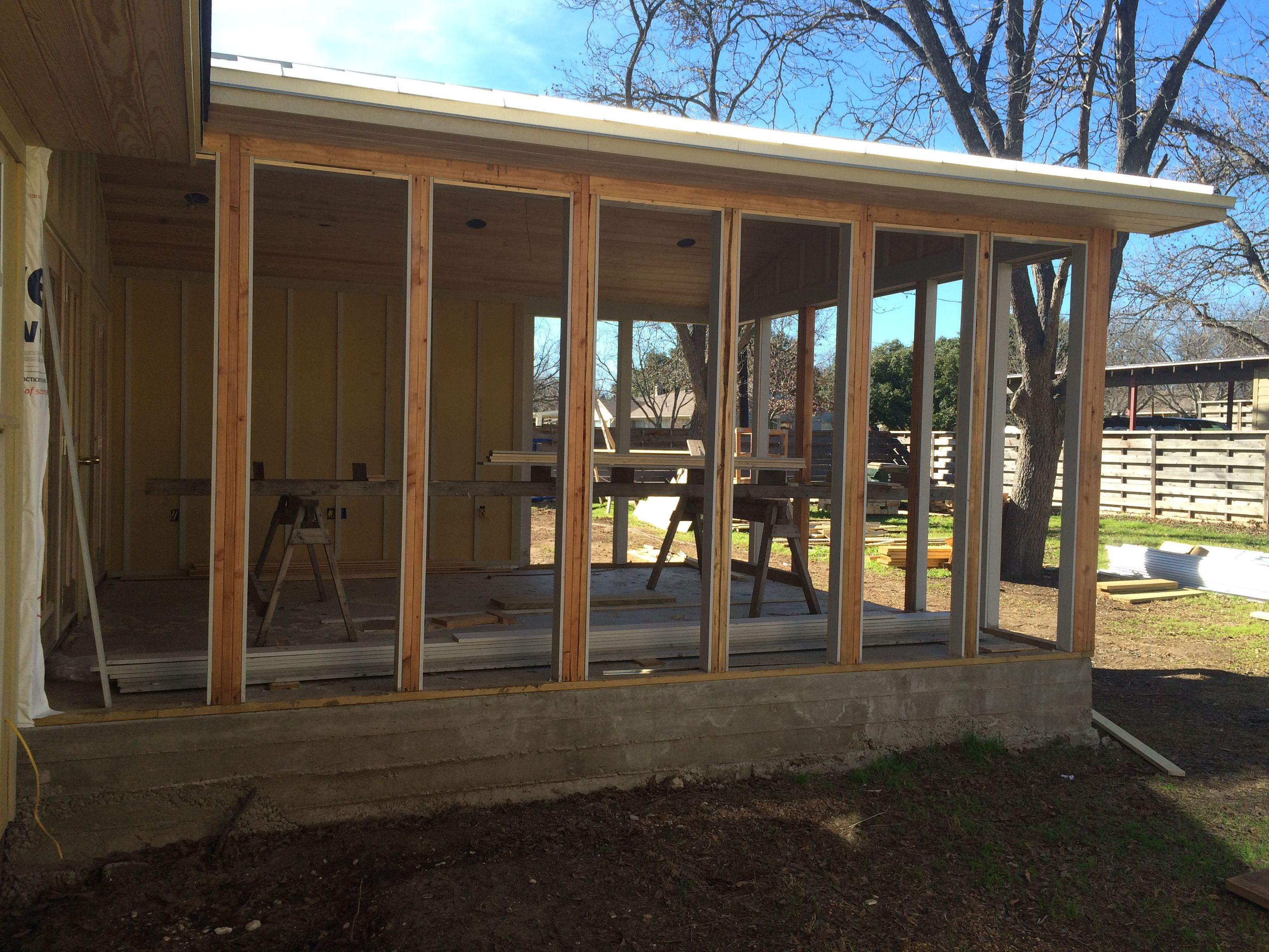 "Soon to be ""Screened"" porch is coming along beautifully"