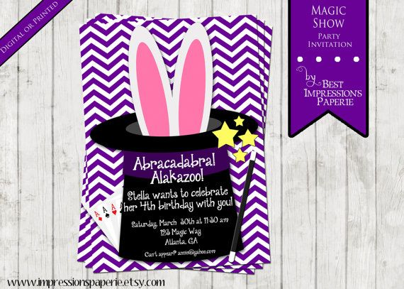 magic show a customizable birthday party invitation rabbit in