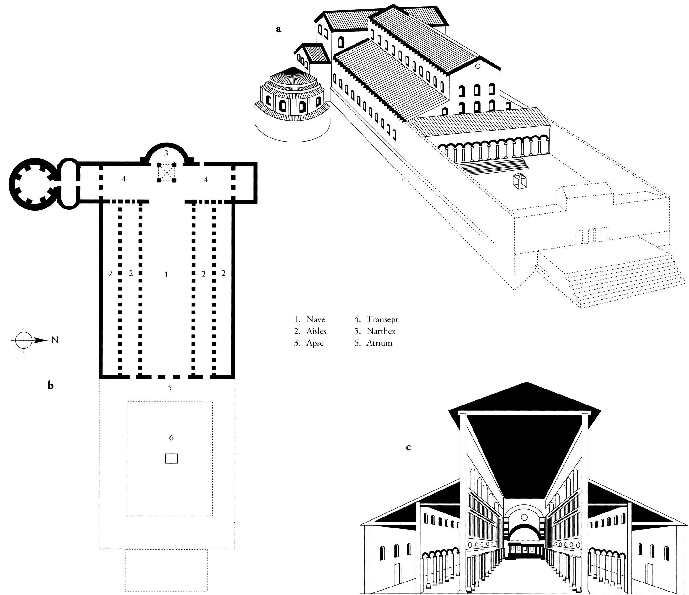 Early Christian Architecture Restored Drawing Of The Old S Peter S