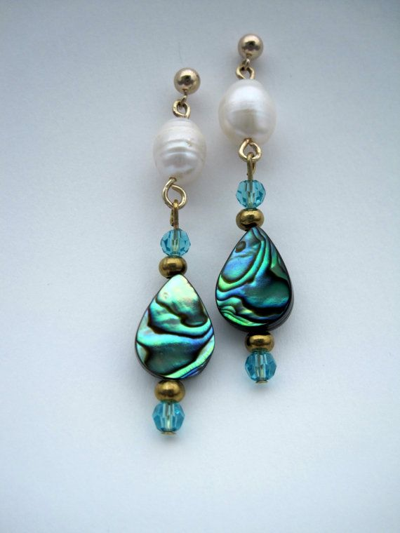 Dangle Earrings Handmade With Abalone Pearls And Crystal