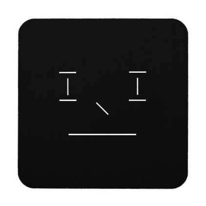 Simple Line Smiley Serious Simple White Black Hipster Coaster