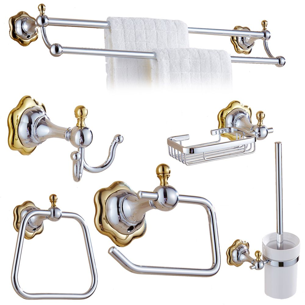 Polish Gold And Silver Flower Design Bathroom Accessories Set Stainless Steel Polished Hardware Sets
