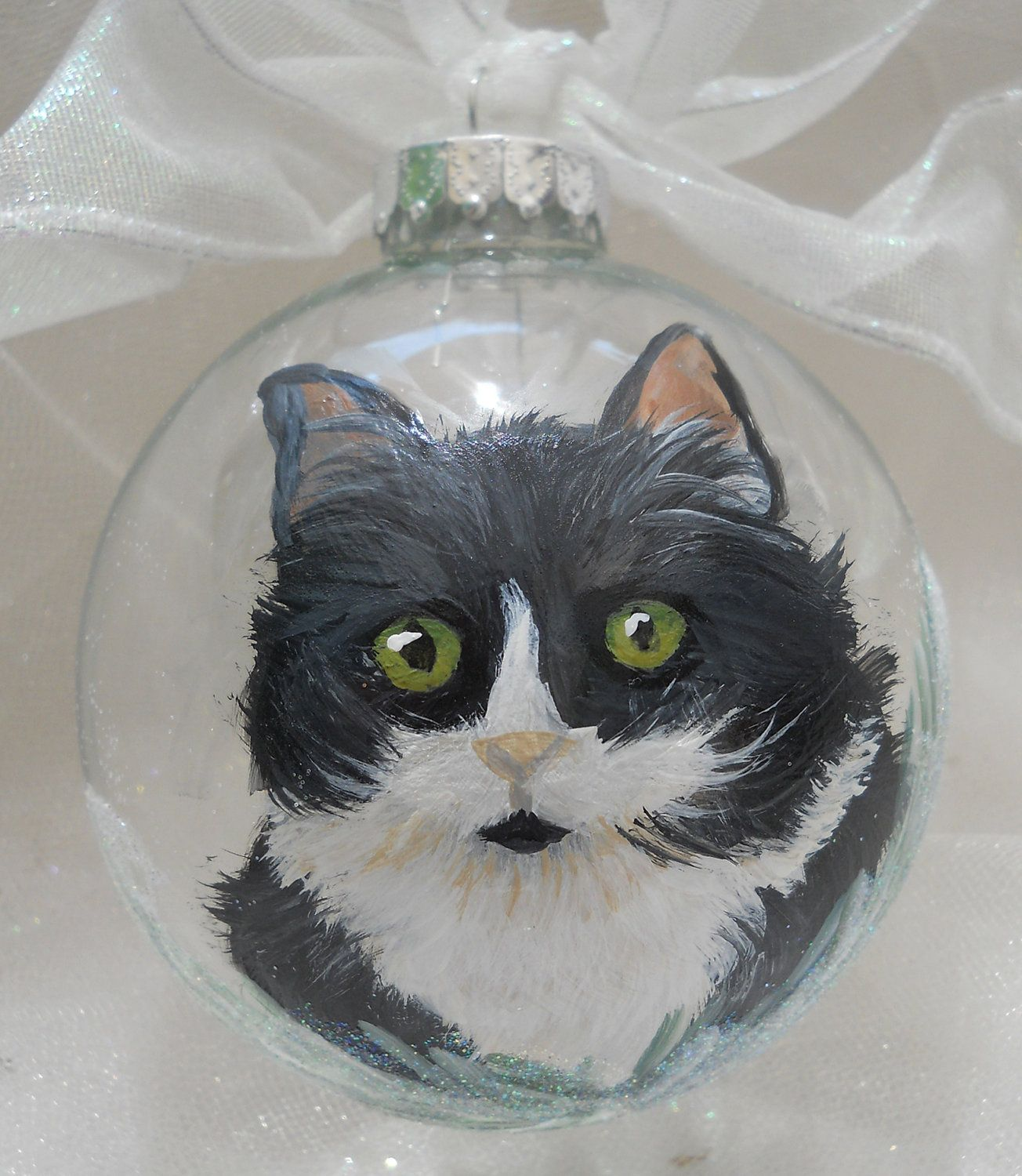 Christmas Tree Made Of Black Cats: Black & White Cat Hand Painted Cat Ornament By