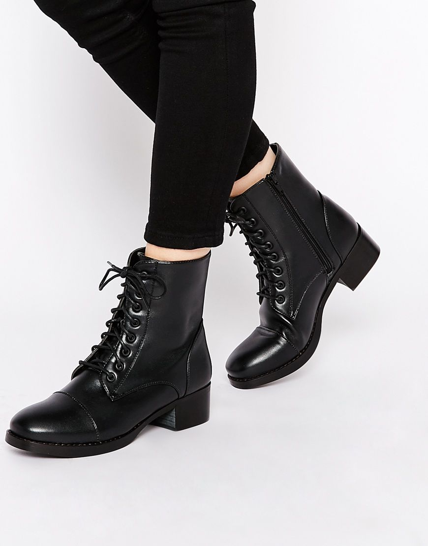 London Rebel Worker Flat Lace Up Ankle Boots | Shoes &lt3